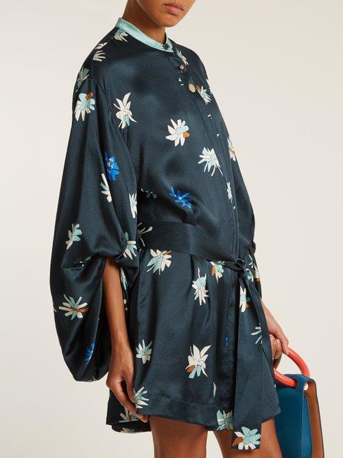 Dalia floral-print hammered satin dress by Roksanda