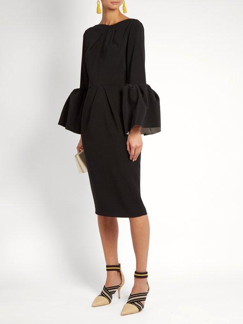 Margot bell-sleeved crepe dress by Roksanda