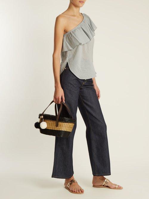 Bergamot one-shoulder cotton-voile top by Apiece Apart