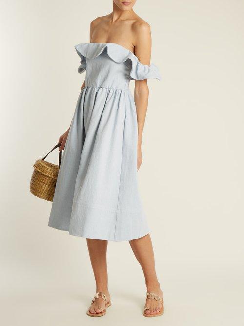 Novella off-the-shoulder denim midi dress by Apiece Apart