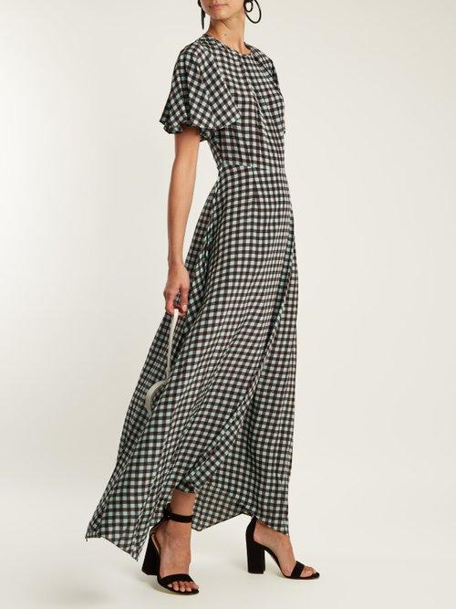 Fluted-sleeve Cossier-print silk dress by Diane Von Furstenberg