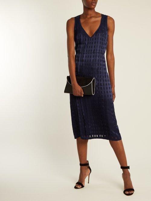 V-neck sleeveless textured-satin dress by Diane Von Furstenberg