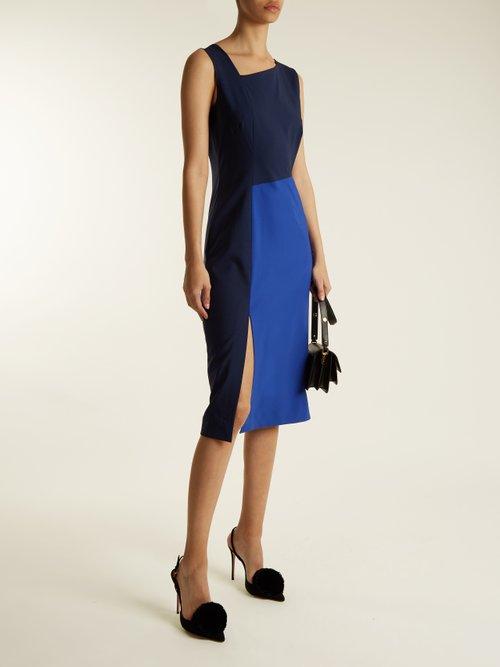 Asymmetric-panelled wool-blend dress by Diane Von Furstenberg