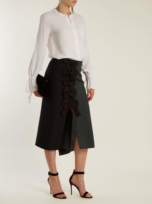 Christina fluted-cuff silk-blend crepe blouse by Altuzarra