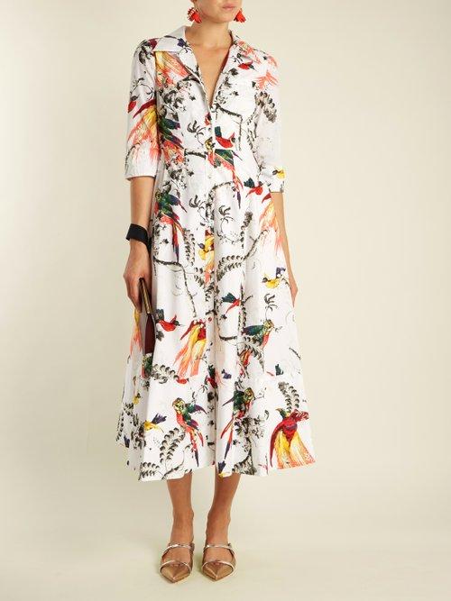 Kasia Paisley Parrot-print cotton shirtdress by Erdem