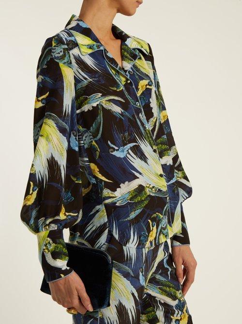 Fae Night Bird-print silk crepe de Chine shirt by Erdem