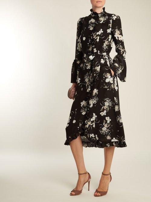 Siren floral-print silk crepe de Chine dress by Erdem