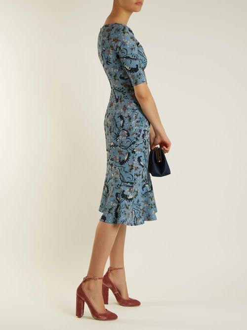 Glenys Paisley Vine-print stretch cady dress by Erdem
