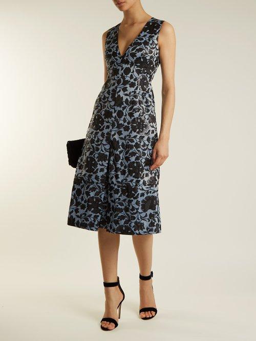 Kamila floral-jacquard midi dress by Erdem