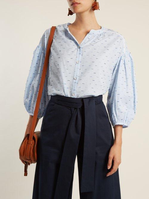 Bette cotton-blend seersucker shirt by Saloni