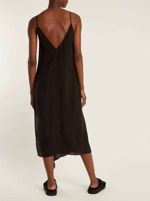 Asymmetric-hem silk slip dress by Raey