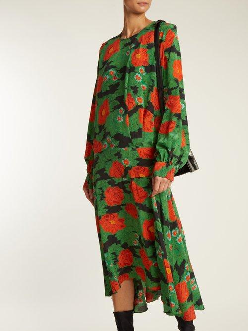 Marla poppy-print silk crepe de Chine dress by Preen By Thornton Bregazzi