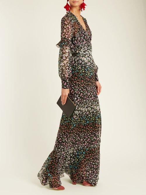 Aurora floral-print silk-georgette wrap gown by Raquel Diniz