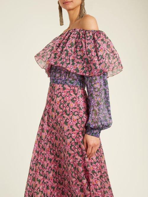Cristina off-the-shoulder silk-georgette gown by Raquel Diniz