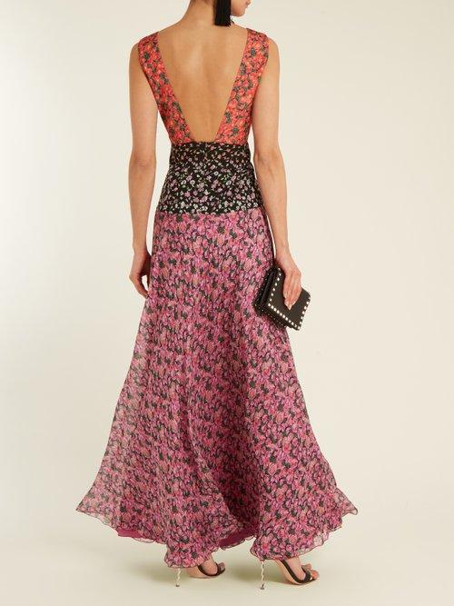 Gabrielle contrasting-print silk-georgette gown by Raquel Diniz