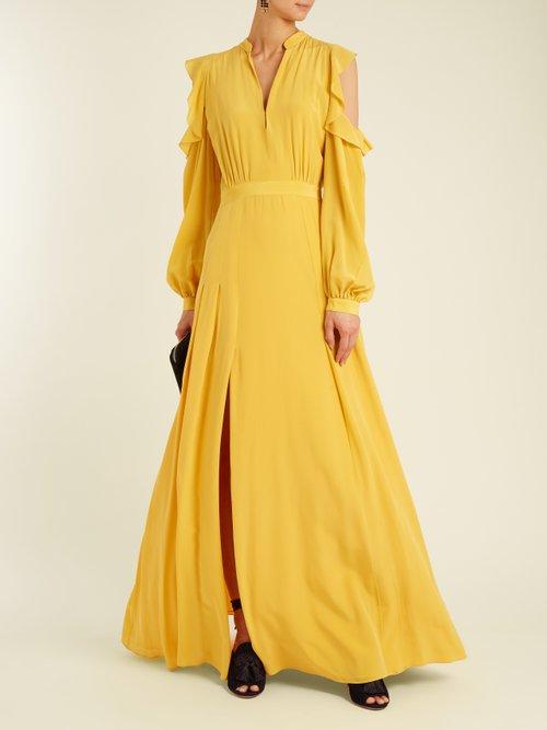 Ava cut-out shoulder silk crepe de Chine gown by Raquel Diniz