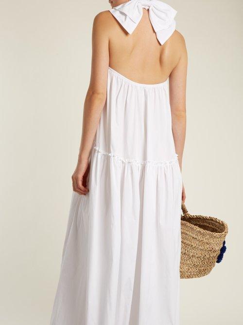 Bo halterneck dropped-waist cotton dress by Caroline Constas