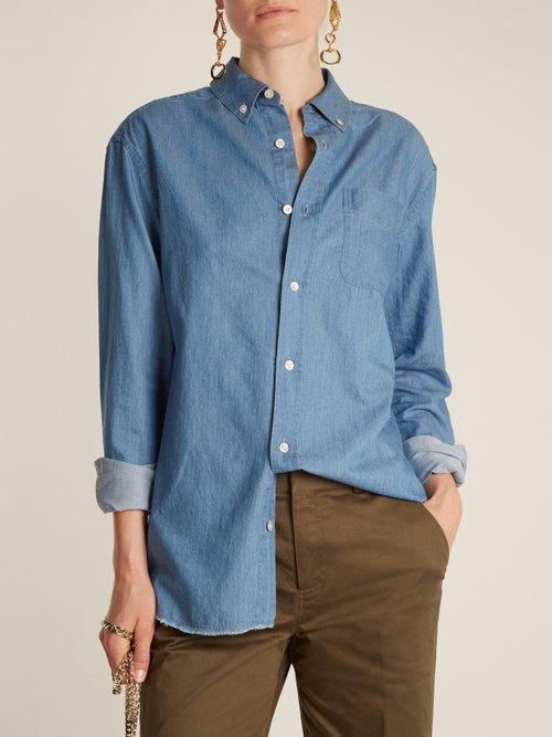 Raw-hem denim shirt by Frame