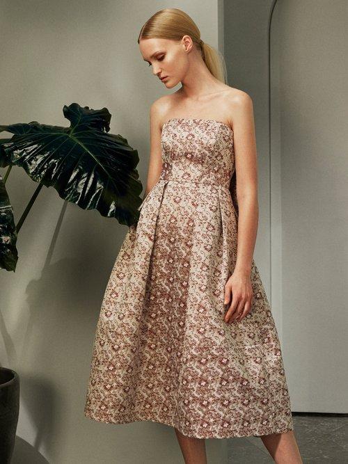 Alina strapless satin-jacquard dress by Erdem