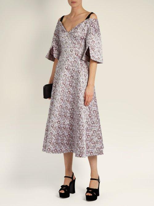 Photo of Karol V Neck Satin Jacquard Dress by Erdem - shop Erdem online sales