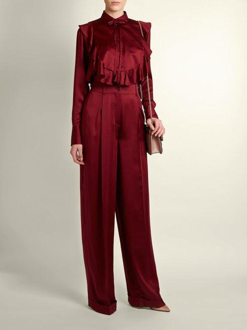 Ruffled-bib satin blouse by Valentino