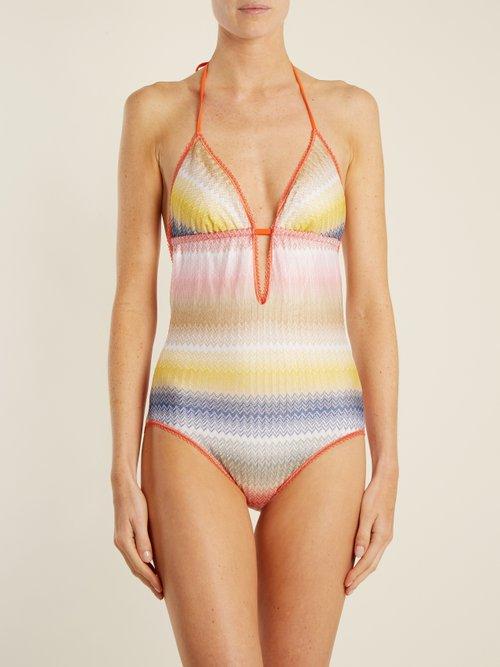 Zigzag-striped halterneck swimsuit by Missoni Mare