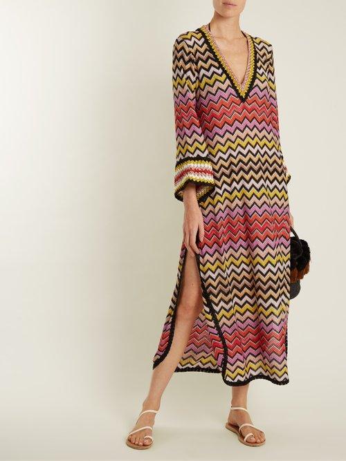 Deep V-neck zigzag-knit kaftan by Missoni Mare