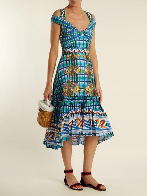 Contrast-print cotton-poplin midi dress by Peter Pilotto