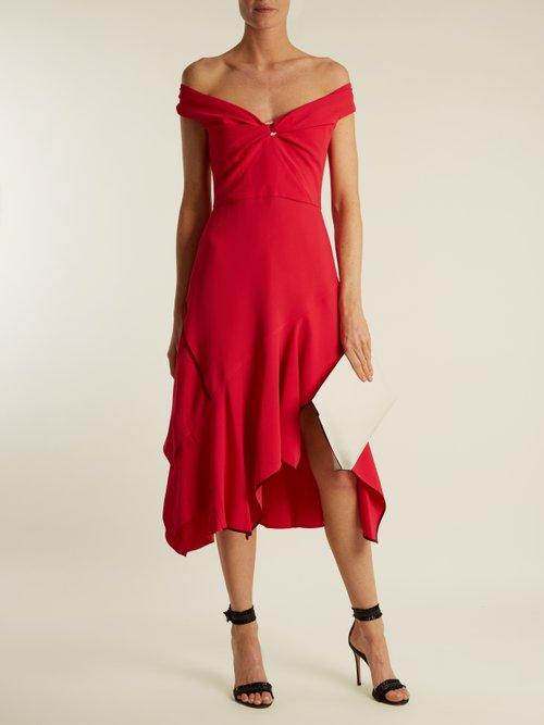 Off The Shoulder Handkerchief Hem Cady Dress by Peter Pilotto