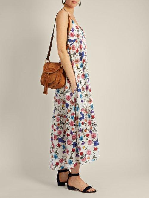 Anais Surrealist-print cotton and silk-blend dress by Borgo De Nor