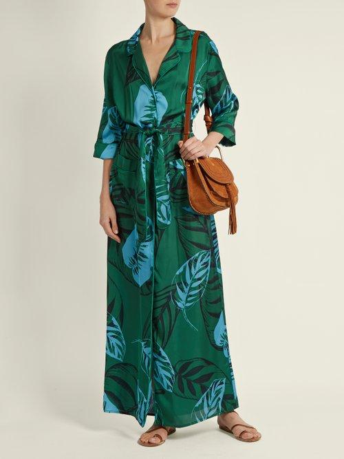 Maria Palm-print satin maxi dress by Borgo De Nor