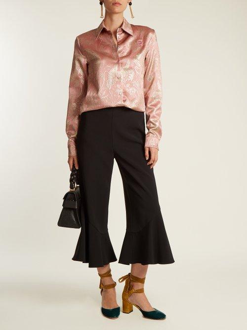 Point-collar floral-jacquard silk-blend shirt by Rochas