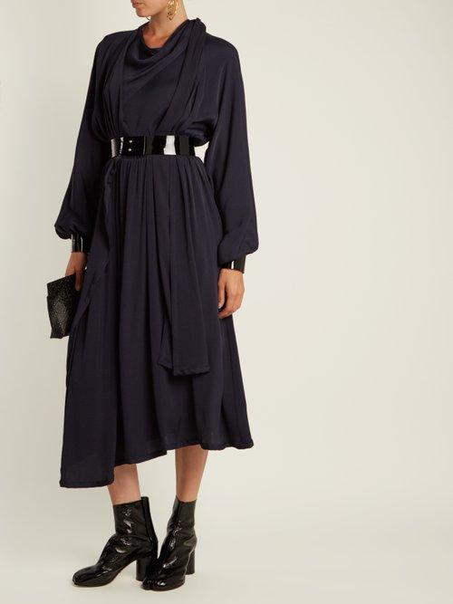 Asymmetric Draped Crepe Back Satin Dress by Maison Margiela