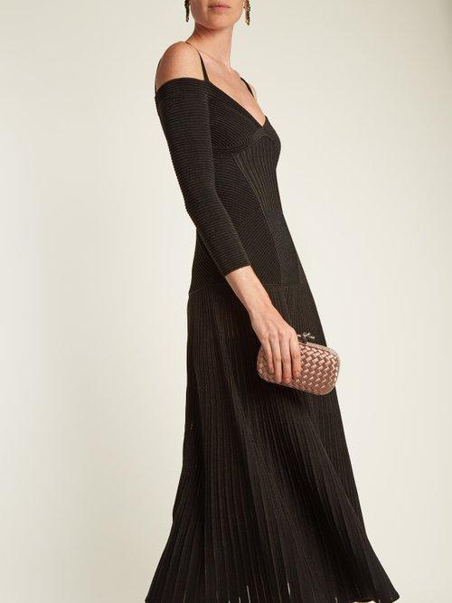 Cut-out shoulder wool-blend dress by Alexander Mcqueen