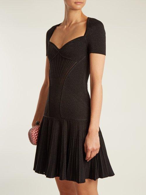 Sweetheart Neck Short Sleeved Wool Blend Dress by Alexander Mcqueen