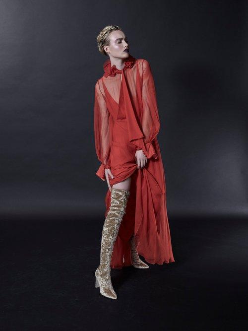 Ruffled-collar waist-tie silk-mousseline gown by Lanvin