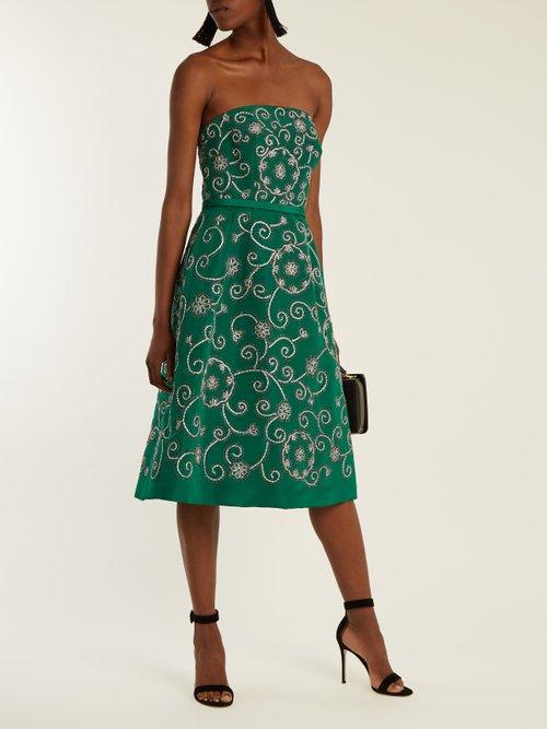 Swirl-embroidered strapless silk dress by Oscar De La Renta