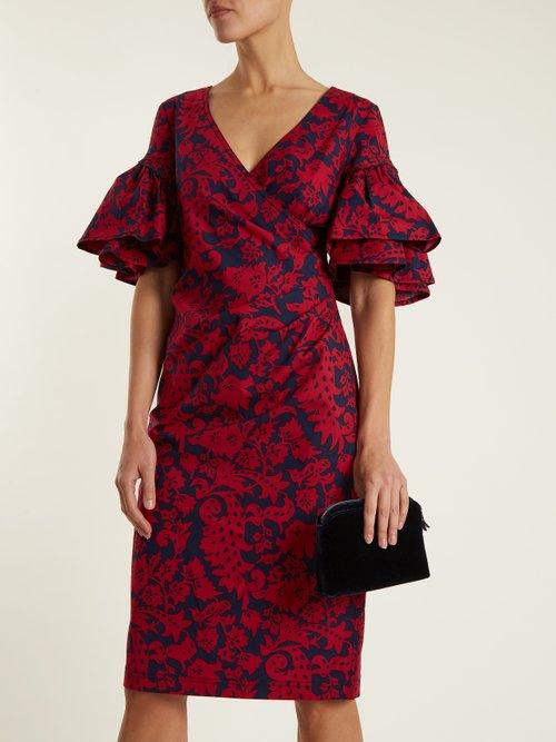 Decorative floral-print cotton-blend poplin dress by Oscar De La Renta