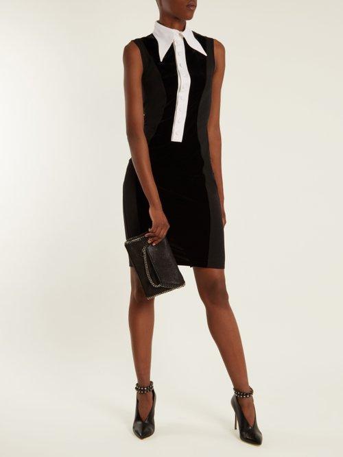 Velvet-panel sleeveless dress by Givenchy