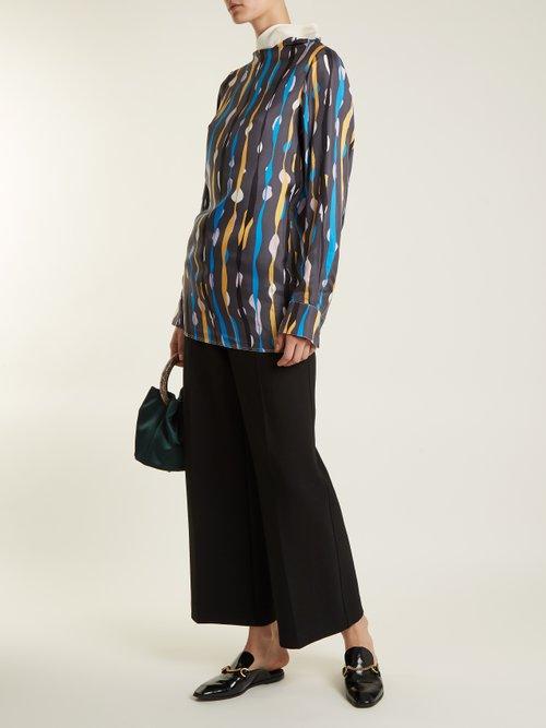 Abstract-print silk satin-twill top by Marni