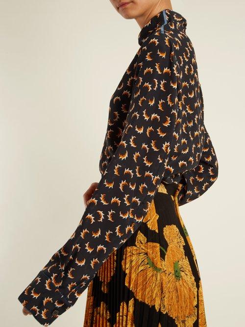 Scrawl-print asymmetric-neckline silk blouse by Marni