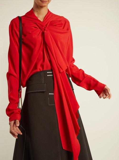Tie-neck crepe de Chine blouse by Marni
