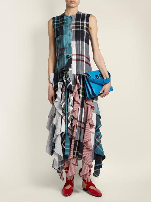 Ruffled-hem patchwork dress by Jw Anderson
