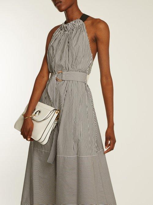 Ruffled halterneck striped cotton dress by Tibi