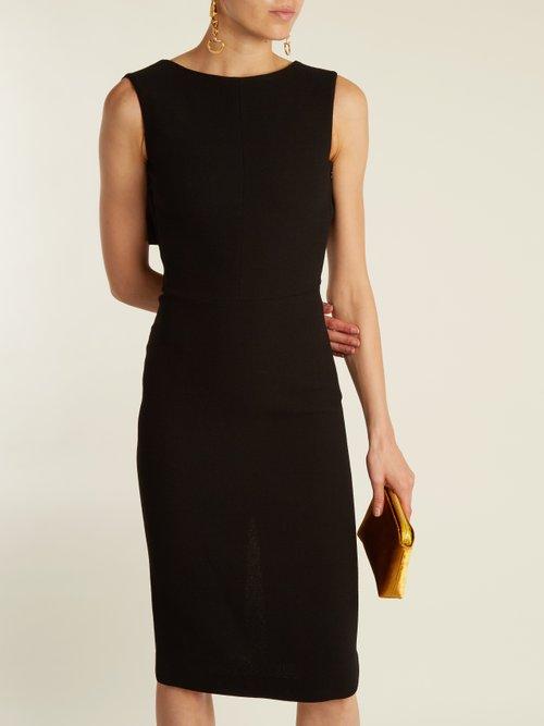 Cassidy cape-back wool-crepe dress by Osman