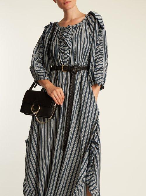 Striped Ruffle Trimmed Crepe Midi Dress by Sonia Rykiel