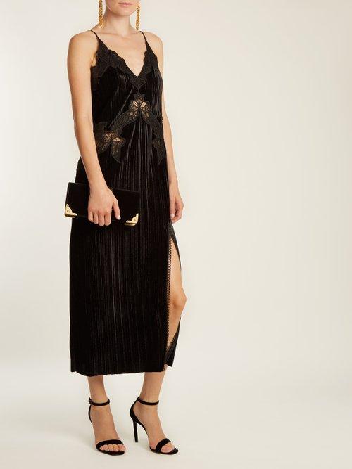 V-neck lace-trimmed velvet dress by Jonathan Simkhai