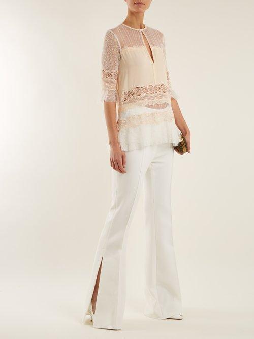 Lace-panel silk-georgette top by Jonathan Simkhai