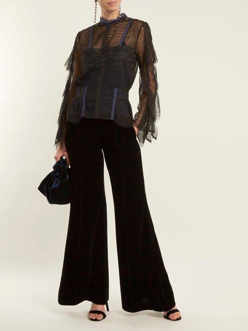 Bell-sleeved layered-lace blouse by Jonathan Simkhai