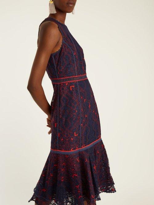 Sleeveless fluted-hem embroidered lace dress by Jonathan Simkhai